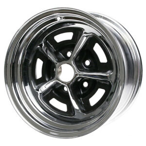 Wheel Vintiques 54 4712044 Mustang Magnum 500 Wheel 14 X7 Chrome Black Inserts