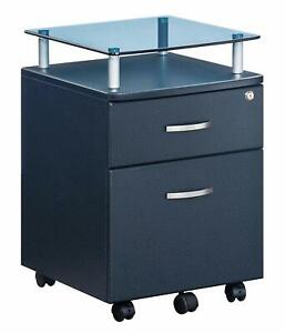 Techni Mobili Rolling File Cabinet With Glass Top Graphite Tempered Glass