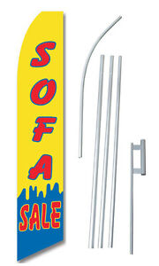 Sofa Sale Flag Kit Yellow Tall Advertising Banner Complete Sign 2 5 Feet Wide