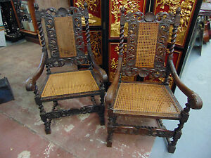 Pair Gorgeous Solid Oak Highly Carved Barley Twist Throne Chairs 19th Century