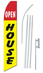 Open House Tall Advertising Banner Flag Complete Sign Kit 2 5 Feet Wide Yellow