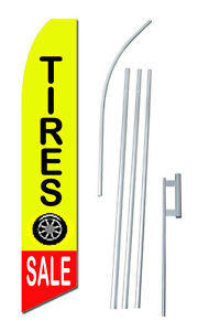 Tire Sale Tall Advertising Banner Flag Complete Sign Kit 2 5 Feet Wide Yellow