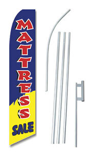 Mattress Sale B y Tall Advertising Banner Flag Complete Sign Kit 2 5 Feet Wide