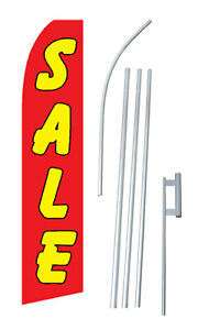 Sale Advertising Banner Flag Complete Tall Sign Kit 2 5 Wide Red Yellow