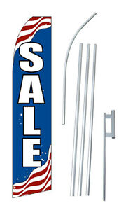 Patriotic Sale Advertising Banner Flag Complete Tall Sign Kit 2 5 Wide