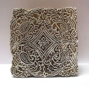 Fine Wooden Hand Carved Textile Printer Fabric Block Stamp Indian Paisley Design