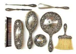 Antique Alvin Sterling Silver Eight Pieces Vanity Set In The 5000 Rococo Pattern