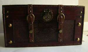 Wooden Trunk Chest Antique Style Small Steamer Box Storage Decorative 16 X10 X8