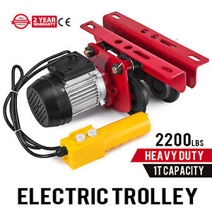 1t 2200lbs Capacity Electric Trolley Q235 Steel Adjustable 1 2m 4ft Cable