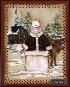 Primitive Snowman It Moose Be Christmas By Pat Fischer Framed 12 X 10