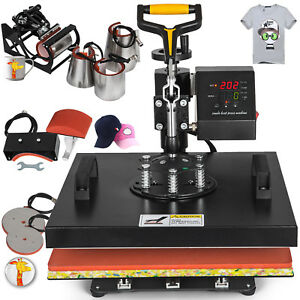 15 x15 8in1 Combo T shirt Heat Press Machine Clamshell Diy Printer Baseball Hat