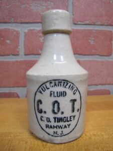 Antique Cot Vulcanizing Fluid Tingley Rahway Nj Stoneware Pottery Sm Jug Bottle