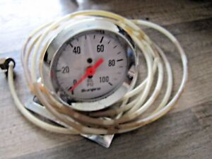 Vintage Sun Pro White Face Oil Pressure Gauge Mounting Cup Line Nice