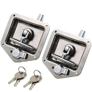 2x Stainless Steel Paddle Door T handle Lock Latch Handle Truck Tool Box Trailer