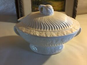 White Soup Tureen Fruit Shapes And Fluted Swirls Artichoke Finial 9 X 12 5