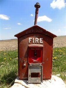 Gamewell Fire Alarm Station Box Vintage Cast Iron Fire Fighting Mancave A