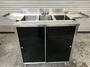 3 Compartment Portable Sink Cabinet Hot Water Dish Wash King Of Portables 8981