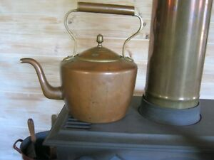Vintage Copper Kettle With Tin Interior Large Size