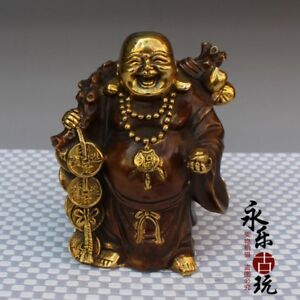 China Buddhism Copper Gilding Yuanbao Wealth Happy Laugh Maitreya Buddha Statue