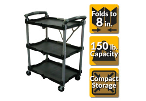 Multi purpose Rolling Utility Cart 3 shelf Storage Trolley Collapsible Black