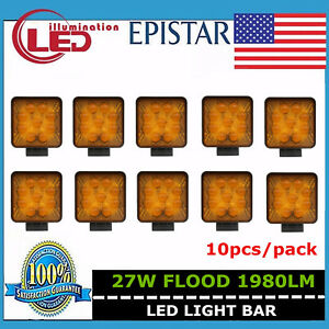 10x 27w Flood Led Work Light Offroad Boat Car Tractor Truck Lamp Square Amber 5d