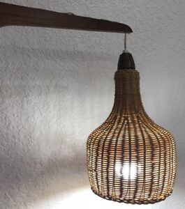 Vintage Mid Century Modern Wall Hanging Wicker Shade Pendant Lamp Light