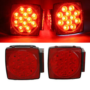 2x Red White Stop License Tail Brake Lights Led Submersible Square Trailer 80