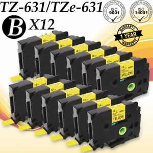 12 Compatible Label Tape Tze 631 Tz 631 12mm Black On Yellow For Brother P touch