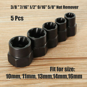 5pcs 10 16mm Rounded Bolt Grip Nut Remover Screwdriver Stud Extractor Socket