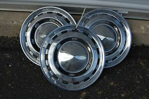 Lot Of Three 3 Chevy Bowtie Dog Dish Pointed Chrome 15 Hubcaps Hub Cap