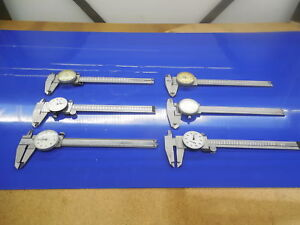 Lot Of For Parts Not Working 6 Sets Of Dial Calipers Mitutoyo Nsk Spi Kanon