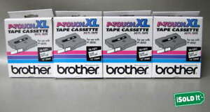 4 New Brother P touch Xl Tape Cassette Tx 1311 Black On Clear 50 Ft Nib Pt 8000