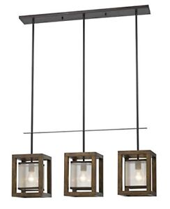 Cal Lighting Wood Three light Thirty five inch Pendant