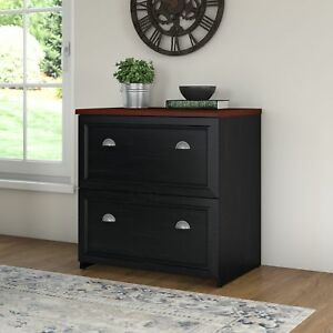 Bush Furniture Fairview 2 Drawer Lateral Wood File Antique Black Filing Cabinet