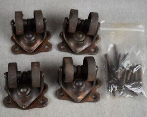 Antique Set 4 Double Wheel 1 1 2 Cast Iron 4 Phoenix Caster Co W Screws