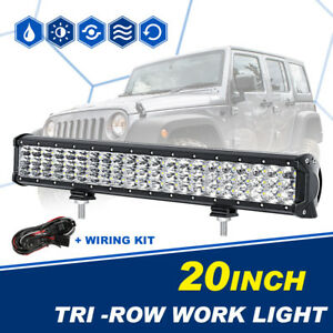 20inch 630w Tri row Cree Led Light Bar Spot Flood Truck Boat 4wd Suv Atv 22 24