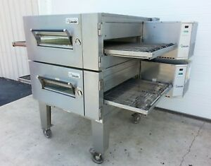 Lincoln Impinger 1600 Double Deck Gas Conveyor Pizza Ovens belt W