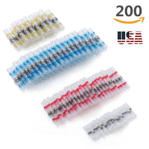 200x 14 Awg Heat Shrink Solder Seal Wire Connectors Splice Terminals Waterproof