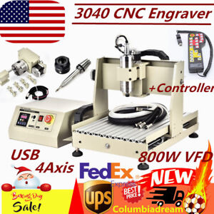 800w Vfd Usb 4 Axis 3040 Cnc Router Engraver Milling Drilling remote Controller
