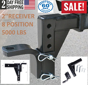 Adjustable Ball Mount Trailer Drop Hitch Tow 2 Receiver Towing System For Car