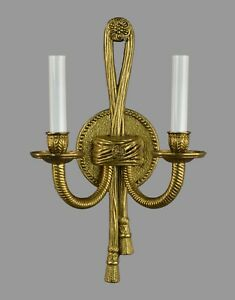 Spanish Brass Two Arm Single Wall Sconce C1960 Vintage Antique Restored
