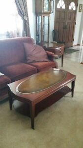 Mid Century Leather Top 4 Piece Mahogany Table Set Vintage Coffee End Tables
