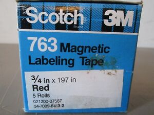 5 Rolls Scotch 763 Magnetic Labeling Tape 3 4 X 197 Red