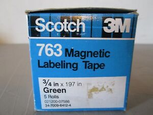 5 Rolls Scotch 763 Magnetic Labeling Tape 3 4 X 197 Green