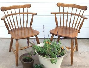 Pair Ethan Allen Kling Baumritter Solid Maple Vintage Captains Mates Chairs Usa
