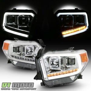 For 2014 2017 Toyota Tundra Led Signal Drl Tube Chrome Projector Headlights Pair