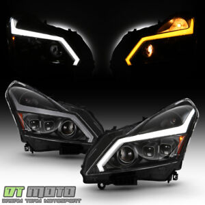 Black Headlights W Led Sequential Signal Switchback Drl For 2007 2008 G35 Sedan