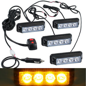 4x 4led Amber Flashing Grille Light Bar Hazard Strobe Car Truck Beacon Lamp Kit