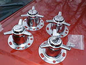 Towers push Thru Type Chrome Stright Spinners Hardware old Chevy 6 Lug 6624