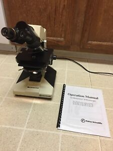 Fisher Scientific Micromaster Ii Binocular Microscope Phase Contrast 10x 25x Ph